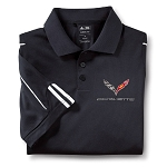 C7 Corvette 2014+ Performance Polo W/ Embroidered Crossed Flag Emblem - Black