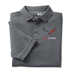 C7 Corvette Z06 2015+ Textured Polo W/ Embroidered Logo - Gray Or Blue