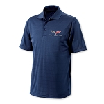C6 Corvette 2005-2013 Tonal Stripe Polo - Navy Blue
