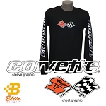 C3 C4 Corvette 1968-1996 Black Long Sleeved Shirt w/ Script on Sleeves