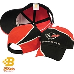 C5 Corvette 1997-2004 Embroidered Red and Black Swirl Corvette Cap