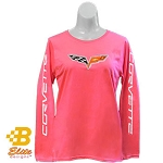 C6 Corvette 2005-2013 Ladies Long Sleeved Corvette Emblem Shirt