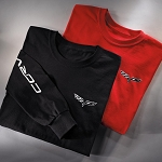 C6 Corvette 2005-2013 Crossed Flags Long Sleeve T-Shirt - Red Or Black