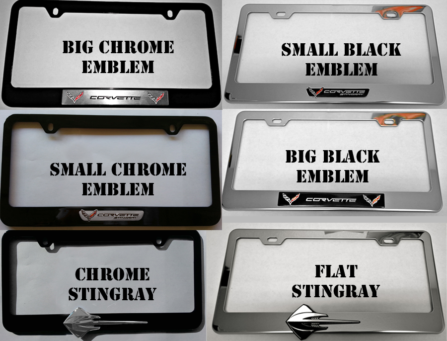 c7 corvette 2014 chrome or black license plate frames with emblem