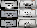 C7 Corvette 2014+ Chrome or Black License Plate Frames with Emblem