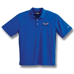 C6 Corvette 2005-2013 Mens Nike Dri-Fit Polo Shirt Micro Pique - Blue / Black