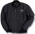 C5 Corvette 1997-2004 Black Aviator Jacket w/ Cross Flags