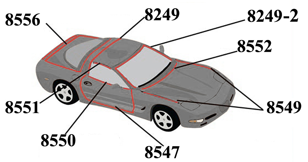 c5 corvette 1997-2004 weatherstrip kit - body coupe