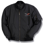 C6 Corvette 2005-2013 Black Aviator Jacket w/ Cross Flags
