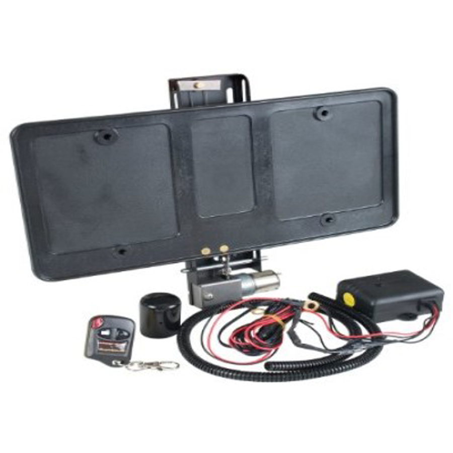 Remote Controlled Electric Retractable License Plate Frame Bracket Hide Away Kit