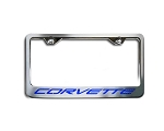C5 Corvette 1997-2004 Stainless Steel License Plate Frame w/ Carbon Fiber Inlays - Brushed Finish