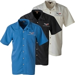 C6 Corvette 2005-2013 Textured Collared Button Down Harrington Camp Shirt - Sizes Medium - 3XL
