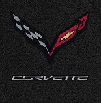 C7 Stingray / Grand Sport / Z06 Corvette 2014-2019 Lloyd Ultimat 2pc Front Floor Mats w/ Carbon Flag Emblem & Carbon Script- Color Options