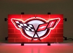C5 Corvette 1997-2004 Crossed Flags Neon Sign - Red