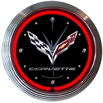C7 Corvette Stingray/Z06/Grand Sport 2014-2019  Crossed Flag Neon Clock - Red