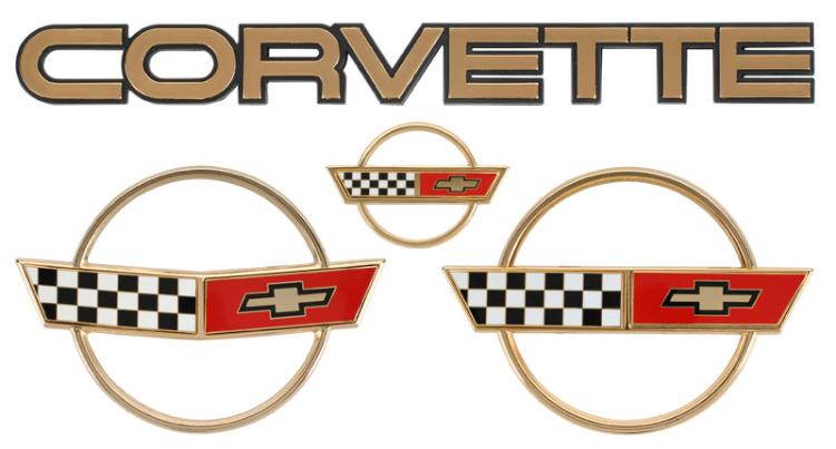 c4 corvette 1984-1990 gold emblem set
