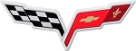 C6 Corvette 2005-2013 Crossed Flags Decal - Size Selections