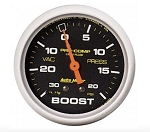 AutoMeter Pro-Comp 2-5/8 inch Mechanical Boost Gauge, Liquid Filled, 30in Hg/20 psi