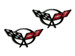 C5 Z06 Corvette 1997-2004 Crossed Flags Raised Emblem 2pc Decals - 1 3/4 inches - Emblem Options