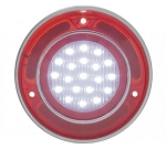 C3 Corvette 1968-1973 LED Backup Light w/ Stainless Steel Rim - Red/Clear Lens