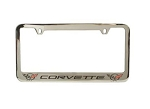 C3 C4 C5 Corvette 1963-2004 Solid Brass Chrome Plated License Plate Frames - Generation Script w/ Cross Flags on Either Side Options