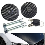 Carbon Fiber Racing Mount Bonnet Hood Latch Pin Key Locking Kit