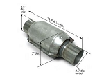 SLP High-Flow 400 Cell Per Inch Catalytic Converter w/ 2.5 Inch Inlet/Outlet