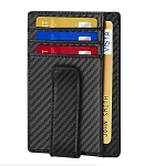 Genuine Leather Carbon Fiber Design Money Clip w/ Card Slots