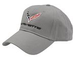 C7 Corvette 2014-2019 Low Profile Gray Brushed Cotton Twill Cap w/ C7 Embroidered Logo