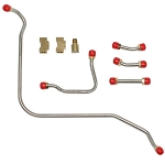 C3 1968-1969 Corvette Pump to Carb Fuel Line (5 Lines & 2 Brass Tee Fittings) - 427CID, 400/435HP, 3x2 BBL Carbs - Material Options
