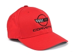 C4 Corvette 1984-1996 Red Flex Fit Cap w/ C4 Embroidered Emblem