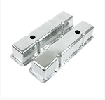 C2 C3 C4 Corvette 1963-1991 Polished Aluminum Tall Die Cast Valve Covers - Short Bolt With Breather - SB/BB Options