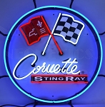 C2 1963-1967 Stingray Round Crossed Flags Logo & Script Neon Sign w/ Backing