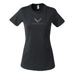2014+ C7 Corvette Ladies Heather Grey T-Shirt w/ C7 Corvette Flags & Script