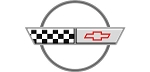 C4 Corvette 1988 Silver 35th Anniversary Crossed Flag Logo Decal - 6 Size Options