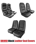 C3 Corvette 1968-1982 DRIVER Black Leather Seat Covers - Pair - Mounted Options