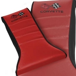 C3 Corvette 1968-1982 Embroidered 2-Tone Leather Console Cushions - Crossed Flag Logo & Corvette Script