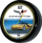 C6 Corvette 2005-2013 Neon Wall Clock - 20in - Yellow or Red