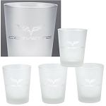 C6 Corvette 2005-2013 Frosted Logo Glassware - Set of 4