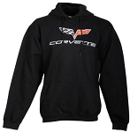 C6 Corvette 2005-2013 Mens Varsity Hooded Corvette w/ Logo & Script - Black, Red & Graphite