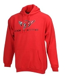 C5 Corvette 1997-2004 Mens Varsity Hooded Corvette w/ Logo & Script - Black, Red & Graphite