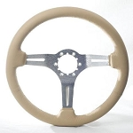 C3 Corvette 1968-1982 Leather & Brushed Aluminum Steering Wheels - Tan