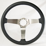C3 Corvette 1968-1982 Black Leather Steering Wheel w/ Brushed Stainless Center