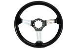 C3 Corvette 1968-1982 Black Steering Wheels - Polished & Black Spoke Finish Options