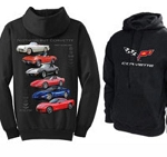 C1 C2 C3 C4 C5 C6 Corvette 1953-2013 Nothing But Corvette Hooded Sweatshirt - Black