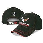C7 Corvette 2014+ C7R Corvette Racing Cap w/ Jake Skull Patch & Red Stitching
