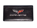 C6 Corvette 2005-2013 Genuine Leather Embroidered Checkbook