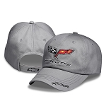 C6 Corvette 2005-2013 Crossed Flags w/ Corvette Silhouette Cap - Sidewalk Gray