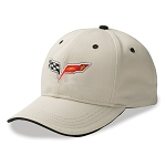 C6 Corvette 2005-2013 Heritage Crossed Flags Cap - Stone / Black