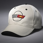 C4 Corvette 1984-1996 Heritage Crossed Flags Cap - Stone / Black